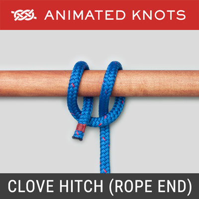Clove Hitch - Rope End Method - used for stage scenery or mooring buoy